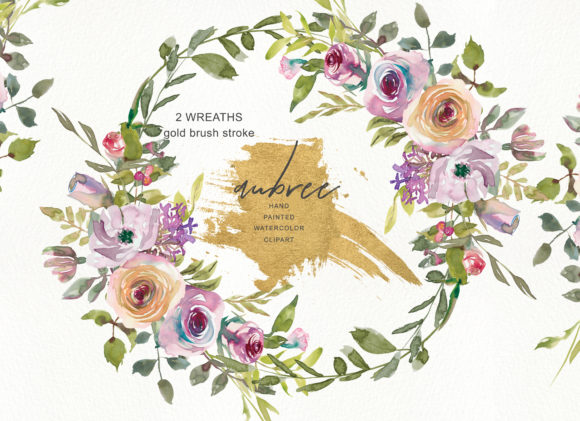 Watercolor Mauve Rose Wreath Clipart Graphic Illustrations By Patishop Art