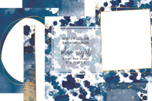 Watercolor Navy & Gold  5