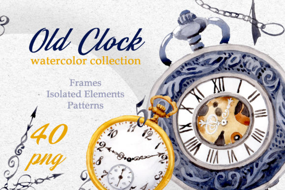 Watercolor Old Clock Graphic By MyStocks