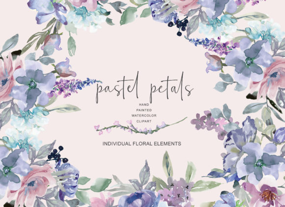 Watercolor Pastel Blue and Mauve Flowers Graphic Illustrations By Patishop Art