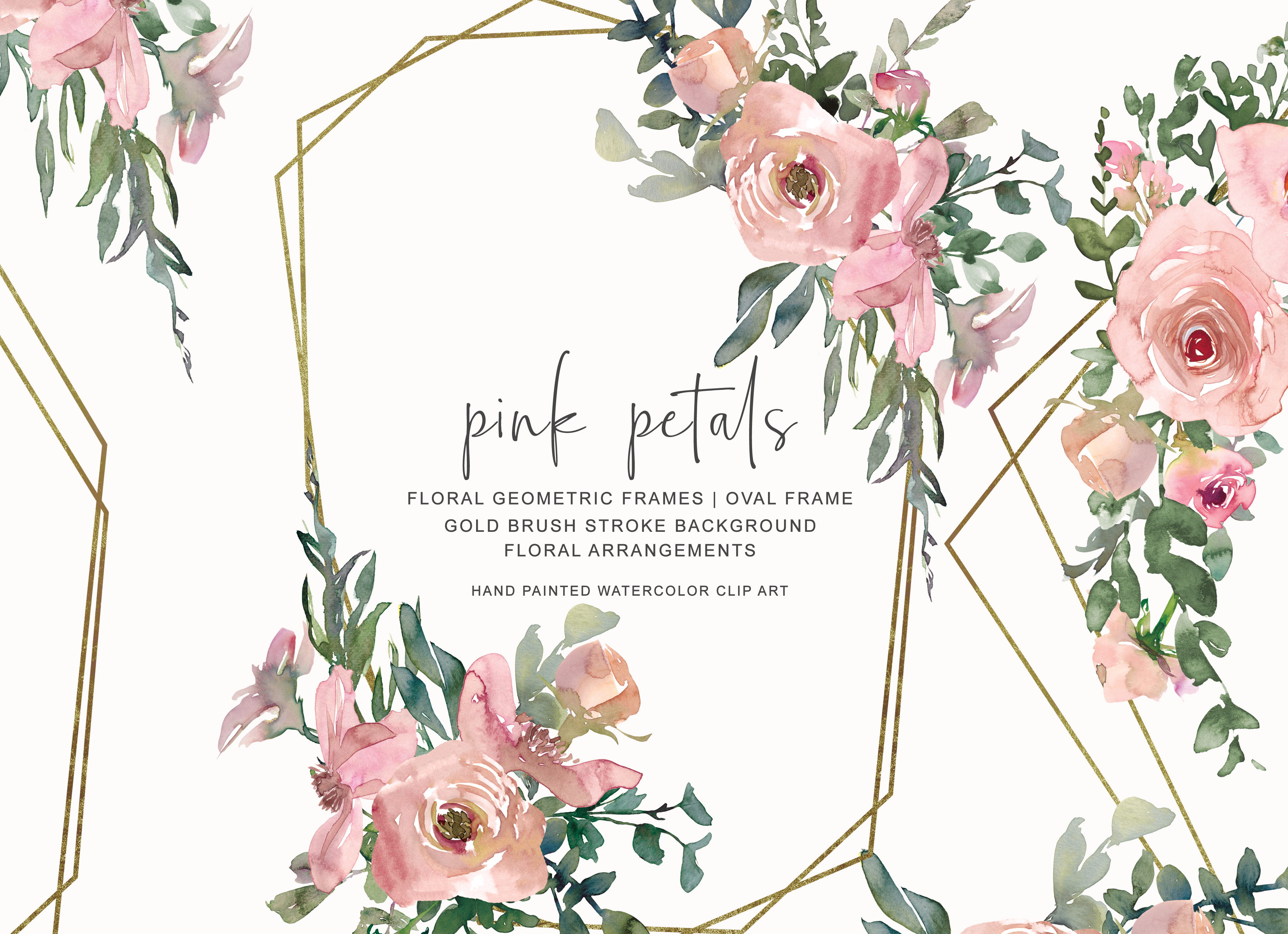 Watercolor Pink Gold Floral Frame Set Graphic By Patishop Art