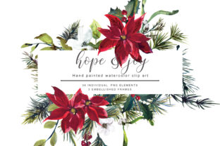 Watercolor Poinsettia Christmas Clipart Graphic Illustrations By Patishop Art