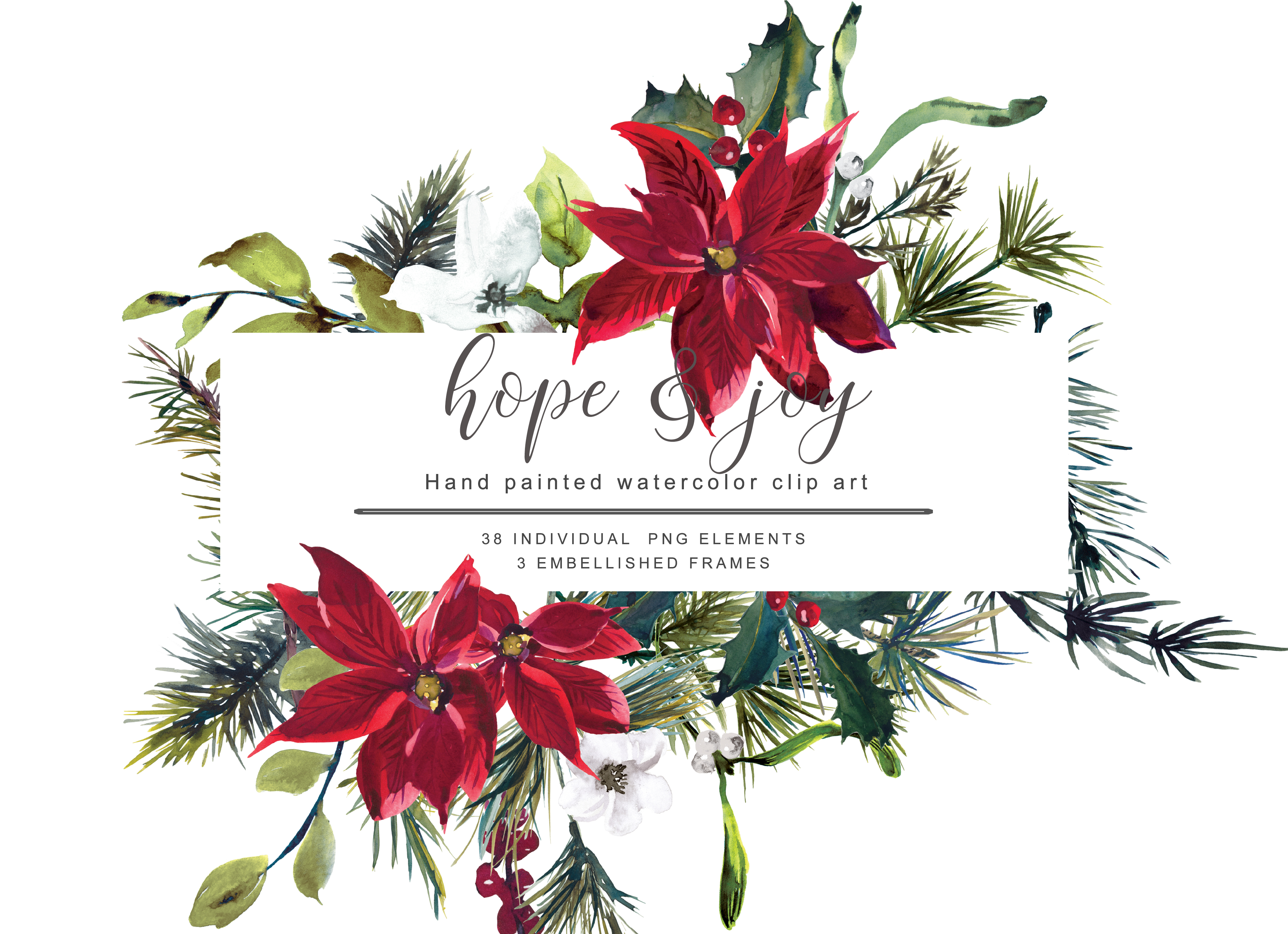 Watercolor Poinsettia Christmas Clipart Graphic By Patishop Art