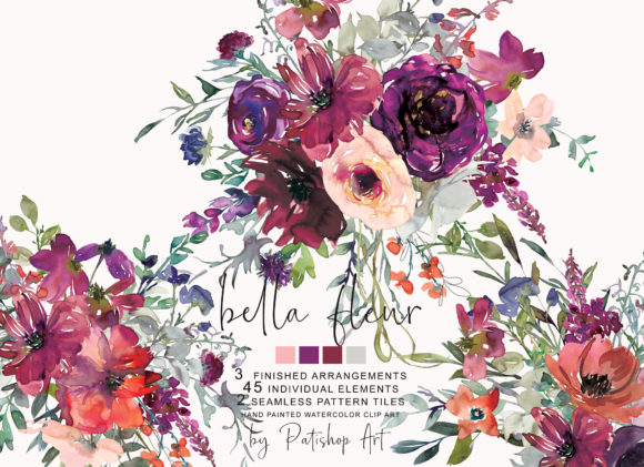 Watercolor Purple Burgundy Flowers Set Graphic Illustrations By Patishop Art