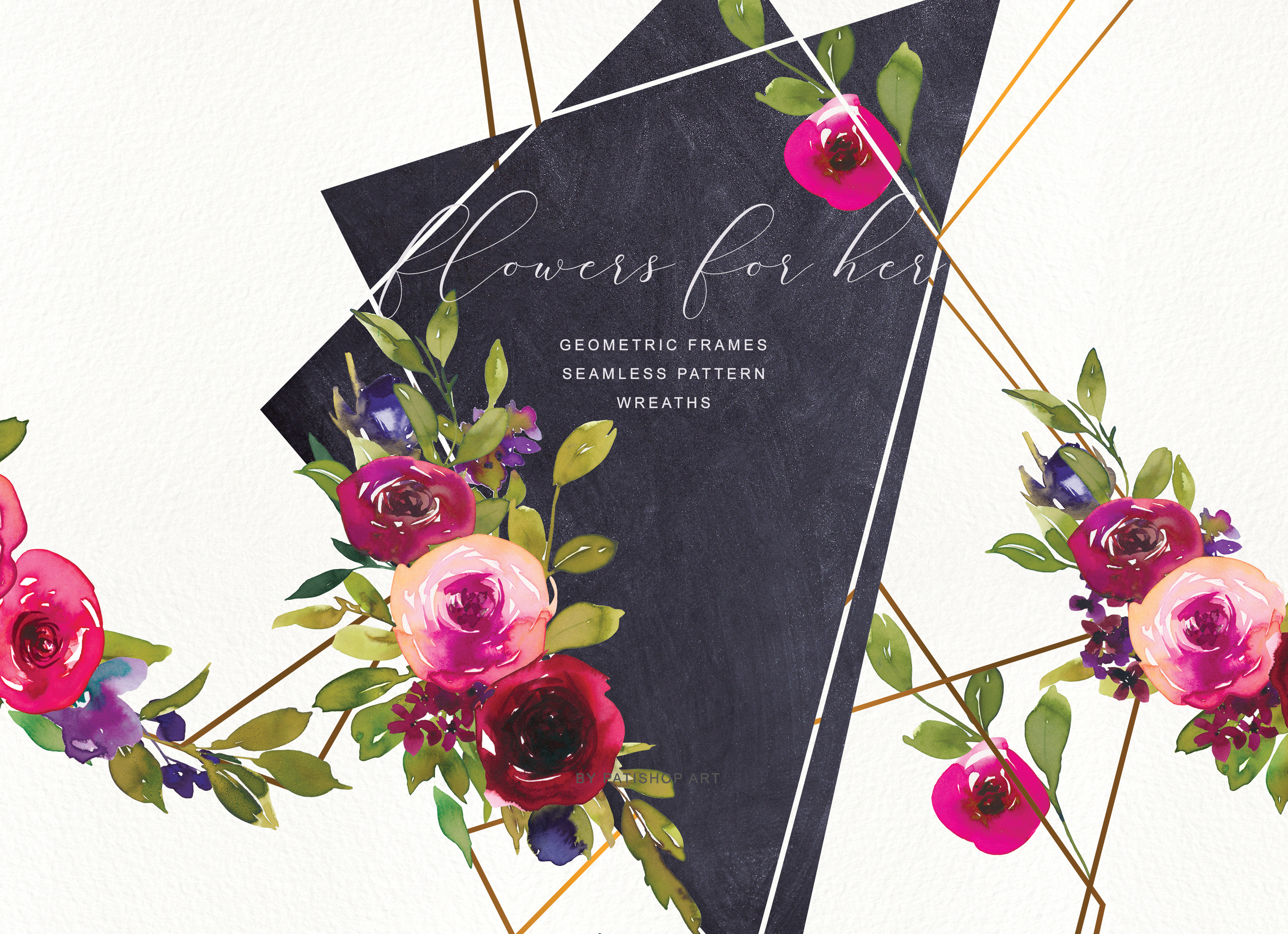 Download Free Watercolor Rose Frame Wreath Set Graphic By Patishop Art for Cricut Explore, Silhouette and other cutting machines.