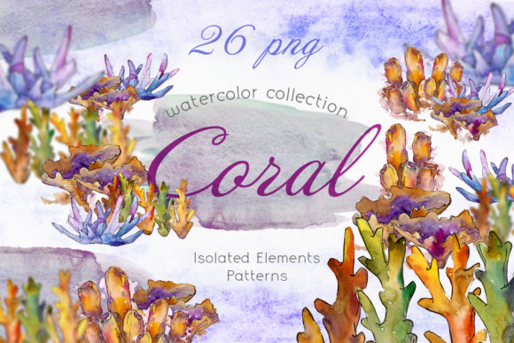 Print on Demand: Watercolor Sea Corals Set Graphic Illustrations By MyStocks