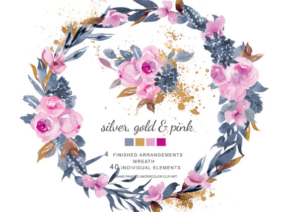 Watercolor Soft Pink Roses and Silver Go Graphic Illustrations By Patishop Art