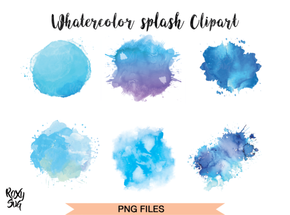 Print on Demand: Watercolor Splashes ClipArt Blue Graphic Illustrations By roxysvg26