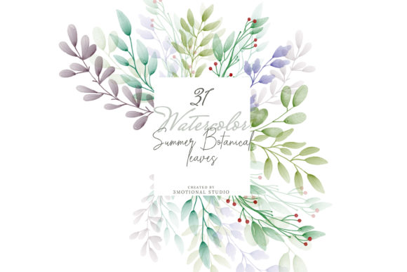 Print on Demand: Watercolor Summer Botanical Leaves Graphic Illustrations By 3Motional