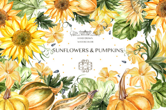 Watercolor Sunflower & Pumpkins Graphic Objects By Knopazyzy