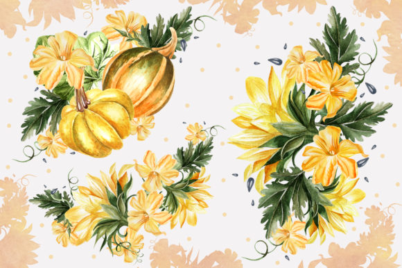 Watercolor Sunflower & Pumpkins Graphic Objects By Knopazyzy - Image 7