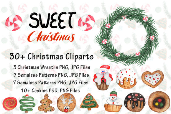 Print on Demand: Watercolor Sweet Christmas Cookies Graphic Illustrations By tanatadesign - Image 2