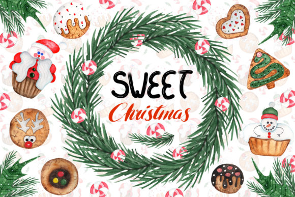 Print on Demand: Watercolor Sweet Christmas Cookies Graphic Illustrations By tanatadesign