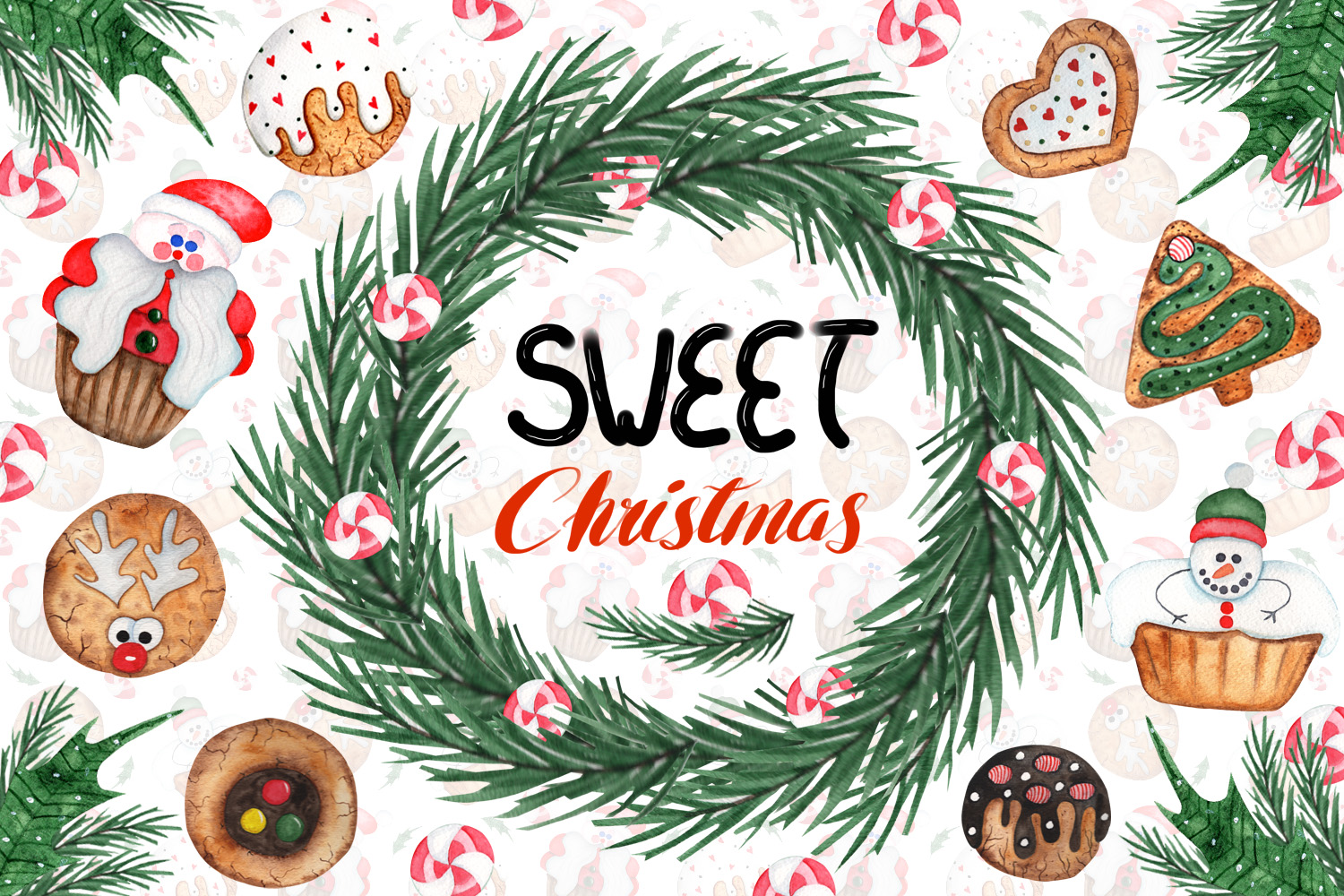 Download Free Watercolor Sweet Christmas Cookies Graphic By Tanatadesign for Cricut Explore, Silhouette and other cutting machines.