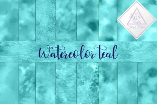 Watercolor Teal Digital Paper Graphic By fantasycliparts