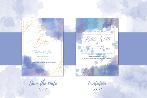 Download Free Watercolor Wedding Invitation Suite Graphic By Awesome Templates for Cricut Explore, Silhouette and other cutting machines.
