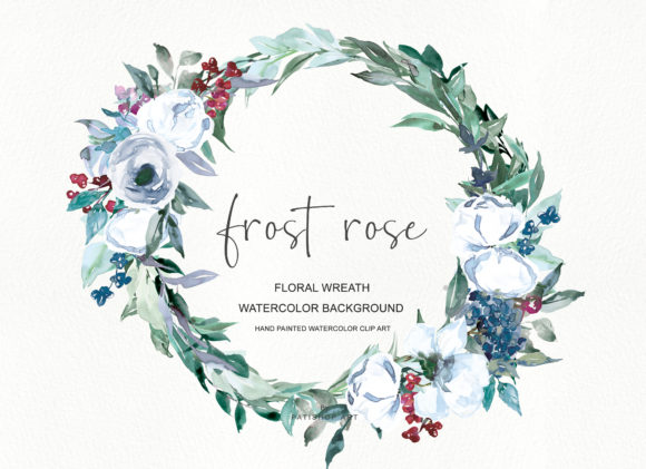 Watercolor White Rose Wreath Clipart