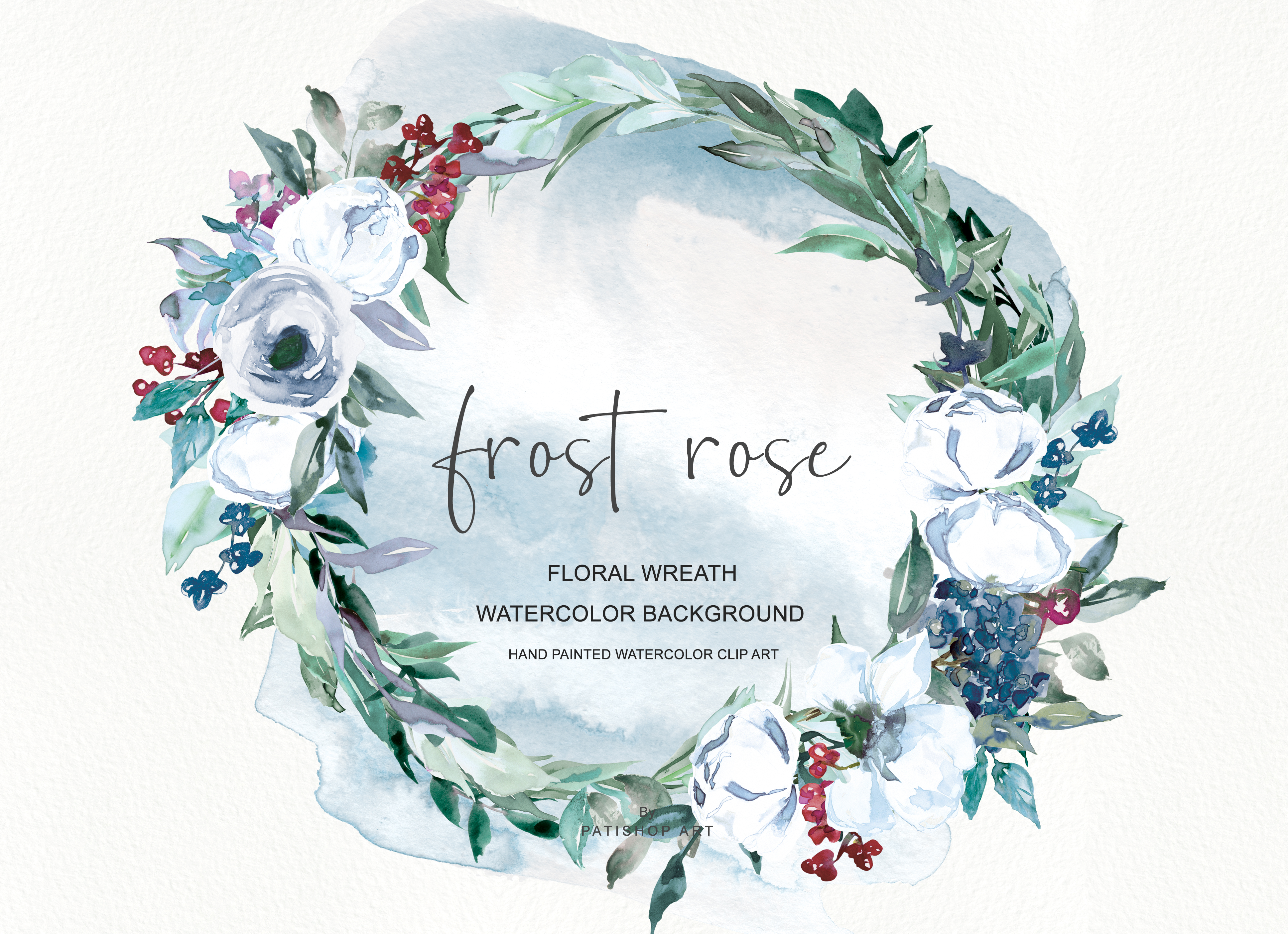 Download Free Watercolor White Rose Wreath Clipart Graphic By Patishop Art for Cricut Explore, Silhouette and other cutting machines.