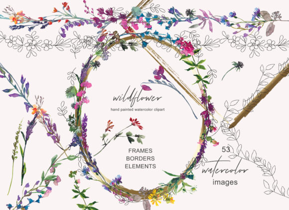 Download Free Watercolor Wildflower Clipart Collection Graphic By Patishop Art for Cricut Explore, Silhouette and other cutting machines.