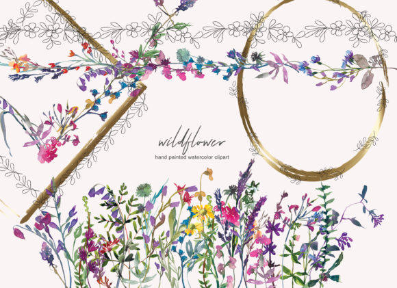 Watercolor Wildflower Clipart Collection Graphic Illustrations By Patishop Art
