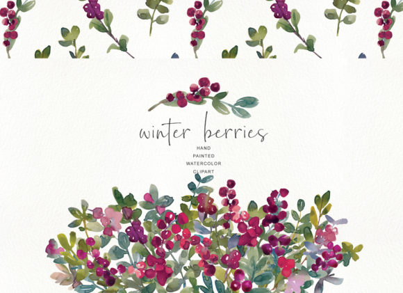 Watercolor Winter Berry Clipart - Winter Graphic Illustrations By Patishop Art