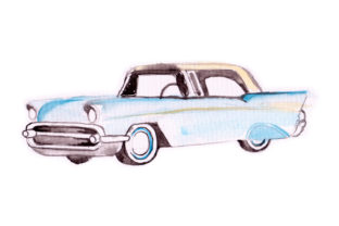 Watercolor Blue Vintage Car Craft Design By Creative Fabrica Crafts