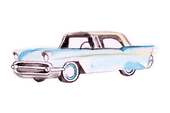 Watercolor Blue Vintage Car Garage Craft Cut File By Creative Fabrica Crafts
