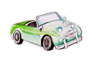 Watercolor Green Vintage Car Craft Design By Creative Fabrica Crafts