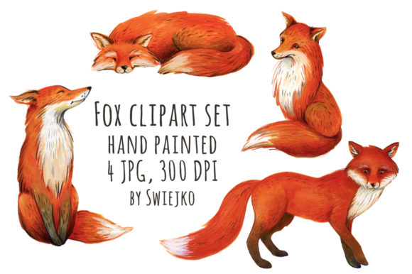 Print on Demand: Watercolor Red Fox, Forest Animals Graphic Illustrations By swiejko