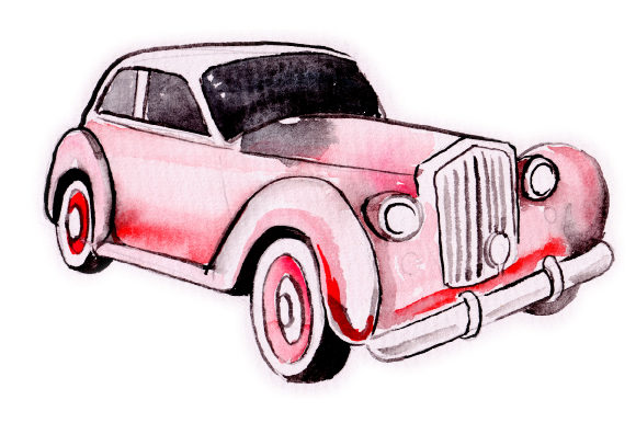 Watercolor Red Vintage Car Garage Craft Cut File By Creative Fabrica Crafts