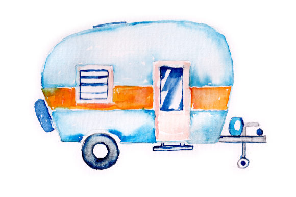 Watercolor Vintage Camper Garage Craft Cut File By Creative Fabrica Crafts