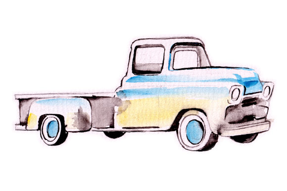 Watercolor Vintage Truck Garage Craft Cut File By Creative Fabrica Crafts