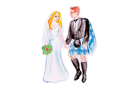 Watercolor Wedding Couple With Guy In Blue Kilt Svg Cut File By