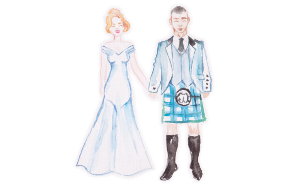 Download Free Watercolor Wedding Couple With Guy In Kilt Svg Cut File By Creative Fabrica Crafts Creative Fabrica for Cricut Explore, Silhouette and other cutting machines.