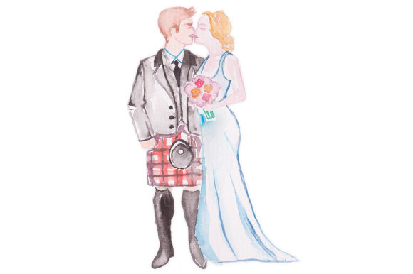 Watercolor Wedding Couple With Guy In Red Kilt Svg Cut File By
