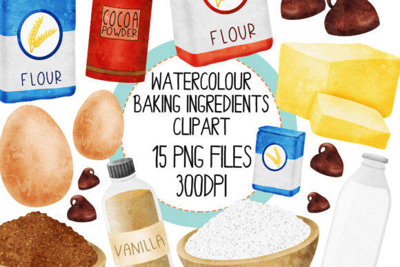 Watercolour Baking Ingredients Set 1 Graphic By The_Laughing_Sloth_Digital