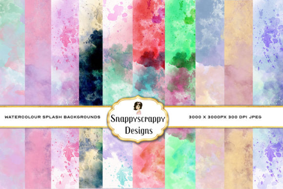 Watercolour Splash Background Papers Graphic Backgrounds By Snappyscrappy