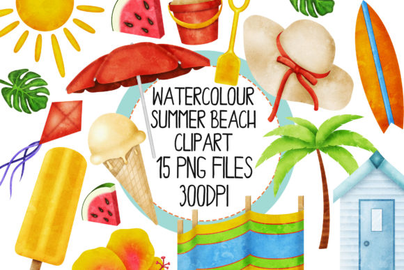 Watercolour Summer Beach Set 1 Graphic Illustrations By The_Laughing_Sloth_Digital