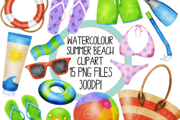 Watercolour Summer Beach Set 2 Graphic Illustrations By The_Laughing_Sloth_Digital