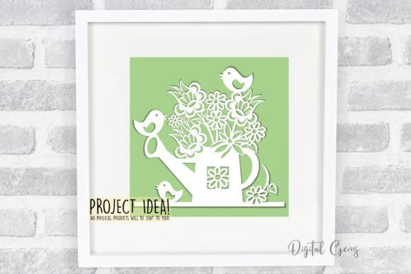 Watering Can Paper Cut Design Graphic By Digital Gems Image 2