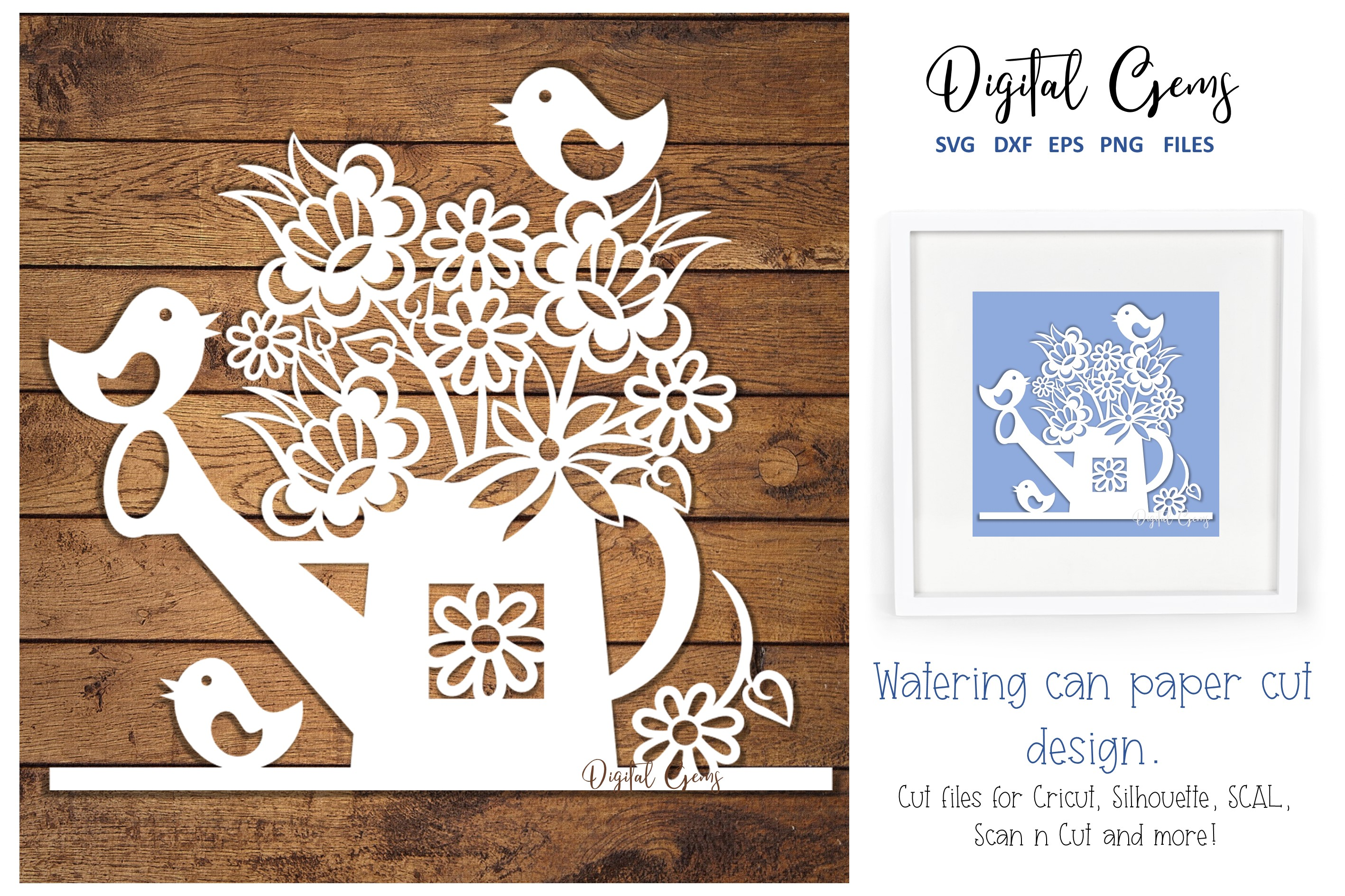 Download Free Watering Can Paper Cut Design Graphic By Digital Gems Creative for Cricut Explore, Silhouette and other cutting machines.