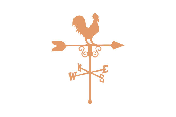 Weathervane with Rooster on Top Farm & Country Craft Cut File By Creative Fabrica Crafts