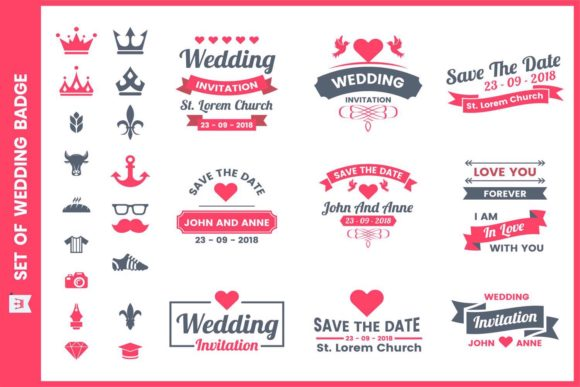 Wedding Badge & Objects Vector Set Graphic Illustrations By toonsteb