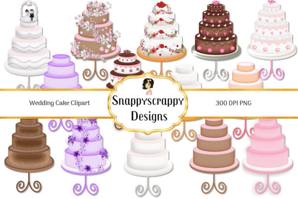 Download Free Wedding Cake Clipart Graphic By Snappyscrappy Creative Fabrica for Cricut Explore, Silhouette and other cutting machines.