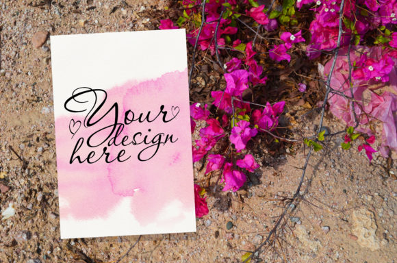 Print on Demand: Wedding Card Mockup with Pink Flowers Graphic Product Mockups By Natalia Arkusha