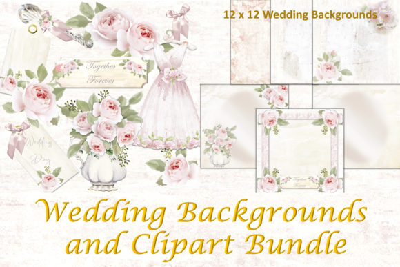 Download Free Wedding Clipart And Backgrounds Bundle Graphic By The Paper for Cricut Explore, Silhouette and other cutting machines.
