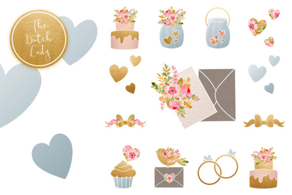 Print on Demand: Wedding Day & Marriage Clipart Set Graphic Illustrations By daphnepopuliers - Image 5