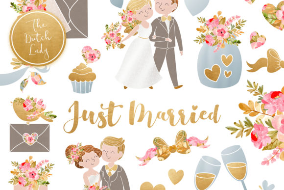 Print on Demand: Wedding Day & Marriage Clipart Set Graphic Illustrations By daphnepopuliers - Image 1