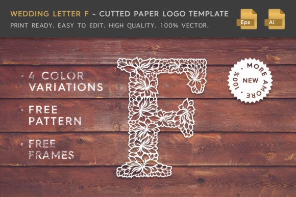 Wedding Letter F - Logo Template Graphic By Textures