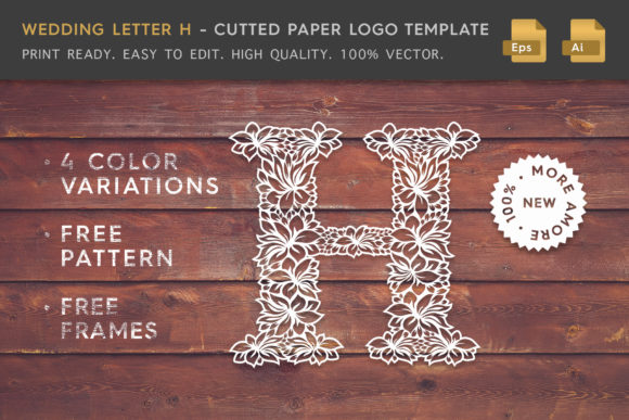 Wedding Letter H - Logo Template Graphic Logos By Textures - Image 1
